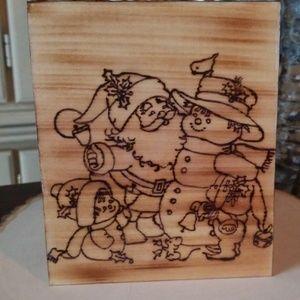 Woodburned Christmas tissue box